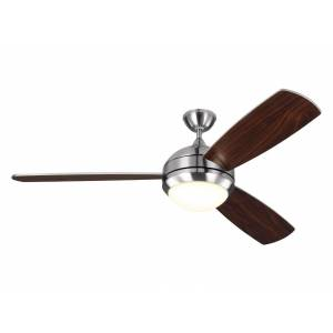 """Monte Carlo Discus Trio Max 58"""" Ceiling Fan in Brushed Steel"""