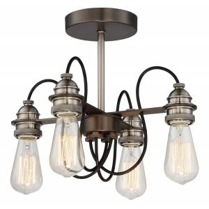 """Minka Lavery Uptown Edison 4-Light 14"""" Ceiling Light in Harvard Court Bronze with Pewter"""