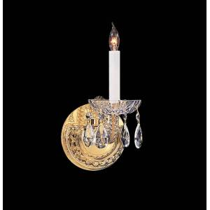 "Crystorama Traditional Crystal 12"" Wall Sconce in Polished Brass with Clear Swarovski Strass Crystals"