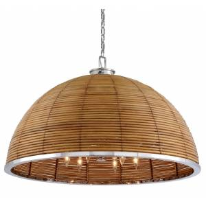 Corbett Lighting Corbett Carayes by Martyn Lawrence Bullard 12-Light Transitional Chandelier in Natural Rattan Stainless Steel