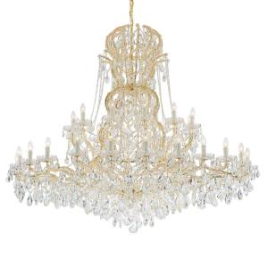 """Crystorama Maria Theresa 37-Light 66"""" Chandelier in Gold with Swarovski Strass Crystal Crystals"""
