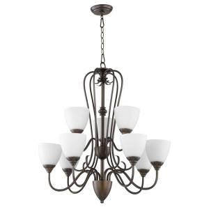 """Quorum International Quorum Powell 9-Light 32"""" Transitional Chandelier in Oiled Bronze with Satin Opal"""