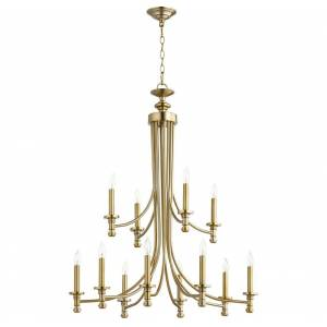 "Quorum International Quorum Rossington 12-Light 38"" Transitional Chandelier in Aged Brass"