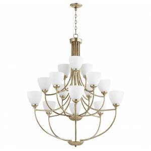 "Quorum International Quorum Enclave 15-Light 44"" Transitional Chandelier in Aged Silver Leaf"