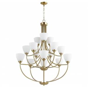 "Quorum International Quorum Enclave 15-Light 44"" Transitional Chandelier in Aged Brass"