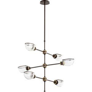 "Quorum International Quorum Menlo 6-Light 28"" Transitional Chandelier in Aged Brass Oiled Bronze"