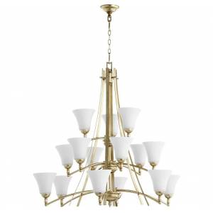 """Quorum International Quorum Aspen 15-Light 38"""" Transitional Chandelier in Aged Silver Leaf with Satin Opal"""