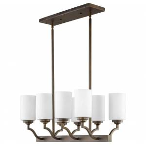 "Quorum International Quorum Atwood 8-Light 13"" Ceiling Light in Oiled Bronze with Satin Opal"