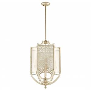 "Quorum International Quorum Bastille 4-Light 18"" Foyer Light in Aged Silver Leaf"