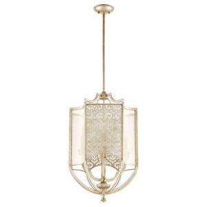 """Quorum International Quorum Bastille 4-Light 18"""" Foyer Light in Aged Silver Leaf"""