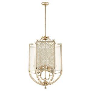 """Quorum International Quorum Bastille 6-Light 22"""" Foyer Light in Aged Silver Leaf"""