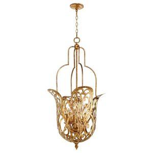 "Quorum International Quorum Le Monde 6-Light 21"" Pendant Light in Vintage Gold Leaf"