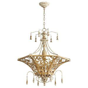 """Quorum International Quorum Leduc 6-Light 27"""" Pendant Light in Florentine Gold"""
