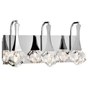 """Elan Rockne 17.75"""" 3-Light LED K9 Crystal Bathroom Vanity Light in Chrome"""