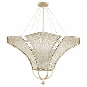 "Quorum International Quorum Bastille 8-Light 42"" Pendant Light in Aged Silver Leaf"