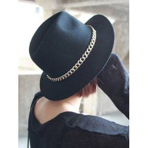 milanoo.com Black Fedora Hat Winter Chains Wool Hats For Women