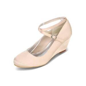 milanoo.com White Wedding Shoes Wedge Heel Criss Cross Mother Shoes Satin Wedding Guest Shoes