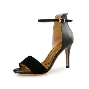 milanoo.com Ankle Strap Suede Leather Stiletto Heel Lady's Dress Sandals