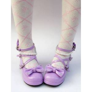 milanoo.com Purple Lolita Shoes Sweet Chunky Heel Pearl Round Toe Bow Cross Front Ankle Strap Lolita Pumps