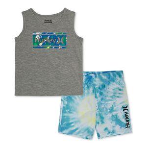 Hurley Toddler Boys 2-Pc. Graphic Tank & Tie-Dye Boardshort Set - Hyper Jade