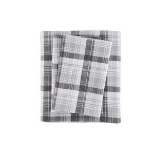 Woolrich Cotton Flannel 4-Pc. King Sheet Set - Grey Plaid