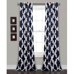 "Lush Decor Wellow Ikat Room Darkening 52"" x 84"" Window Panel Set - Navy"