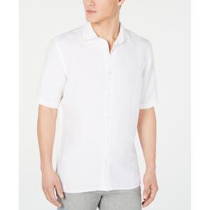 Alfani Men's Lagoon Stretch Linen Blend Shirt, Created for Macy's - Bright White