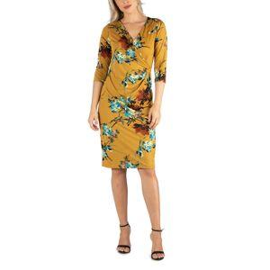 24seven Comfort Apparel Women's Three Quarter Sleeve Knee Length Wrap Dress - Multi