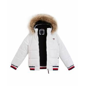 Tommy Hilfiger Big Girls Hooded Puffer Jacket With Faux-Fur Trim - White