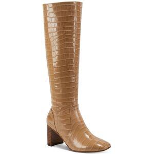 Marc Fisher Revela Square-Toe Boots - Camel Croco