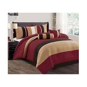 Luxlen Casares 7 Piece Comforter Set, Cal King - Red