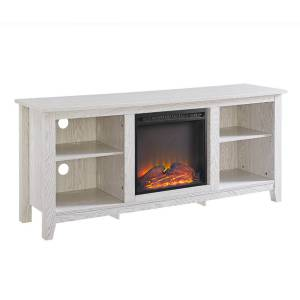 """Walker Edison 58"""" Wood Tv Stand Console with Fireplace - White - White"""