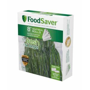 """FoodSaver 8"""" x 20 Vacuum Seal Roll with Bpa-Free Multilayer Construction for Food Preservation, 3-Pack - White"""