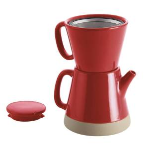 Rachael Ray Ceramic Pour-Over 5-Cup Coffee Set - Red