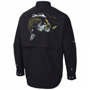 UV Embroidered Button Down Large Mouth Bass Fishing Shirt  - Size: 2X-Large