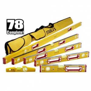 Stabila Complete 6-Piece Level Set with Case - 78 In., 48 In., 32 In., 24 In., 16 In., Torpedo and Case
