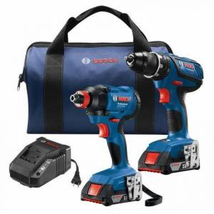 Bosch 18V 2-Tool Combo Kit with Compact Tough 1/2 In. Drill/Driver and 1/4 In. and 1/2 In. Two-In-One Bit/Socket Impact Driver