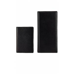the daily edited Black Pebbled Travel Wallet in Black.