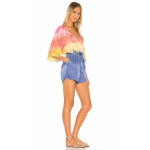 Chaser Silky Basics Flouncy 3/4 Sleeve Surplice Romper in Pink. - size S (also in L,M,XS)
