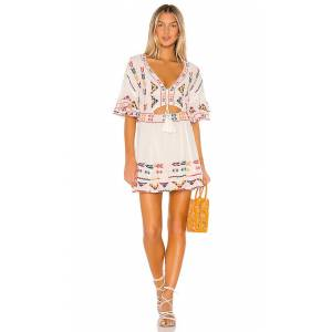 Tularosa Thea Embroidered Dress in White. - size M (also in S,XS,XXS)