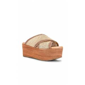 Kaanas Formentera Cross Over Fishnet Wedge in Tan. - size 7 (also in 10,8,9)