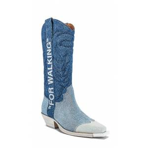 OFF-WHITE Denim Cowboy Boot in Blue. - size 35 (also in 36)