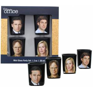 The Office Character Shot Glass Drinking Game 2 Ounce Glasses Set of 4