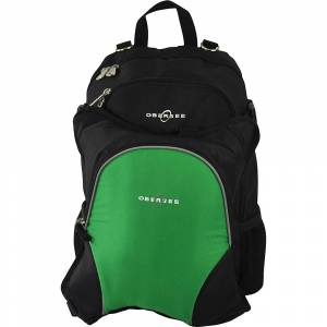 Obersee Rio Diaper Bag Backpack with Detachable Cooler - Black / Green - Diaper Backpacks