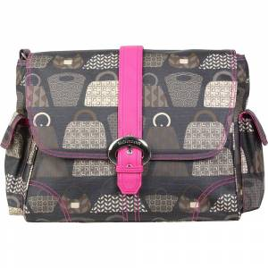 Kalencom Matte Coated Buckle Bag - Bag Lady - Fuchsia - Diaper Messenger Bags