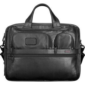 Tumi Alpha Expandable Leather Organizer Computer Brief - Black - Laptop Cases