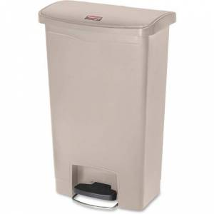 Rubbermaid Commercial Slim Jim Resin Step-On Container, Front Step Style, 13 gal, Beige