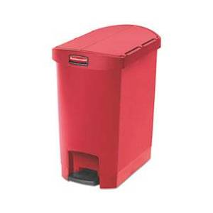 Rubbermaid Commercial Slim Jim Resin Step-On Container, End Step Style, 8 gal, Red