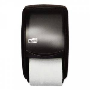 "Tork Twin Standard Roll Bath Tissue Dispenser, Plastic, 7.5"" x 7"" x 12.7"", Smoke"