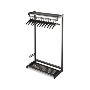 """Quartet Single-Sided Rack w/Two Shelves, 12 Hangers, Steel, 48"""" Wide, Black"""